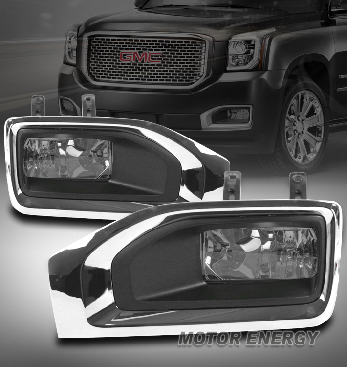 15-17 GMC YUKON//XL//DENALI FRONT BUMPER FOG LIGHTS LAMP SMOKE W//COVER LEFT+RIGHT