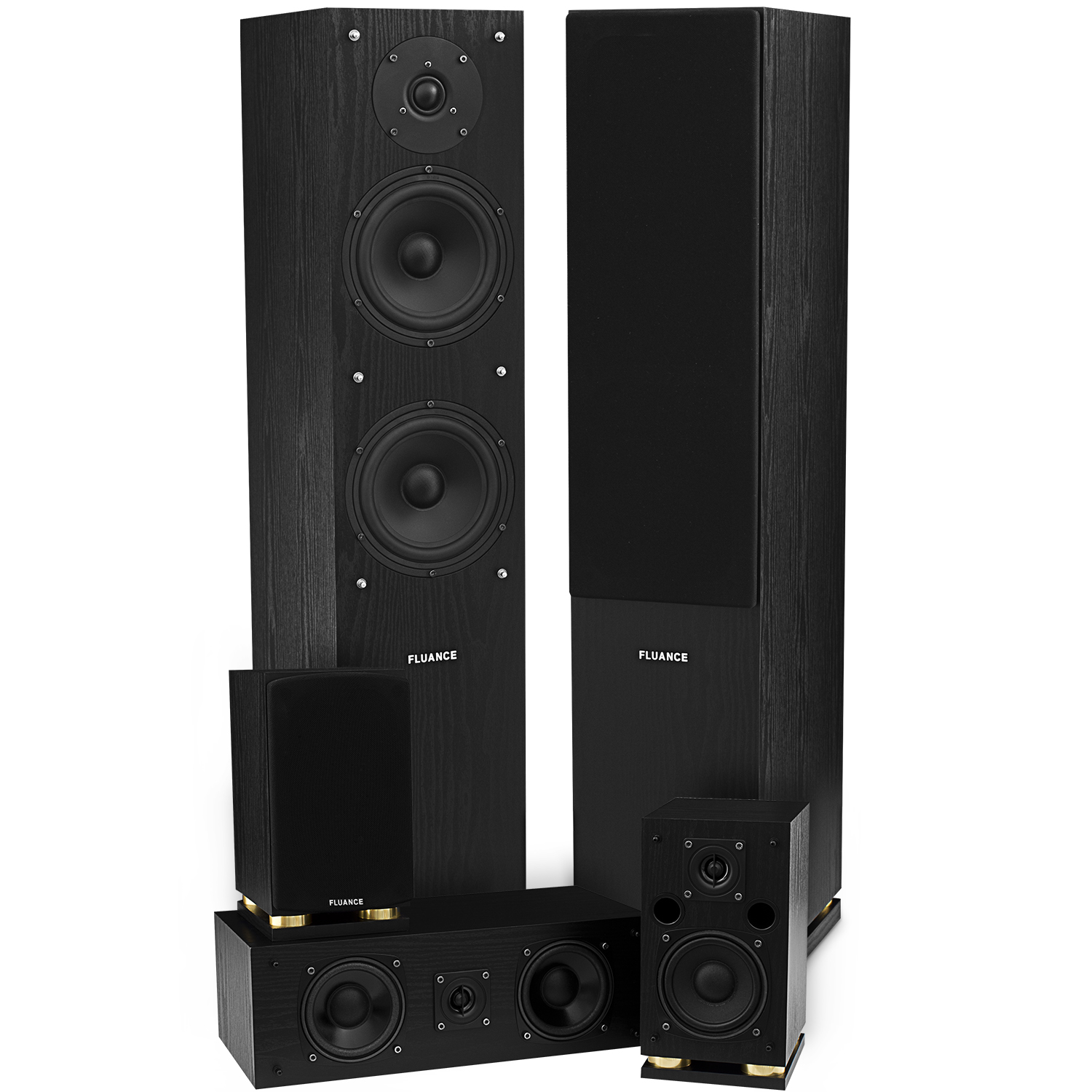 fluance sxhtb bk 5 speaker surround sound home theater. Black Bedroom Furniture Sets. Home Design Ideas