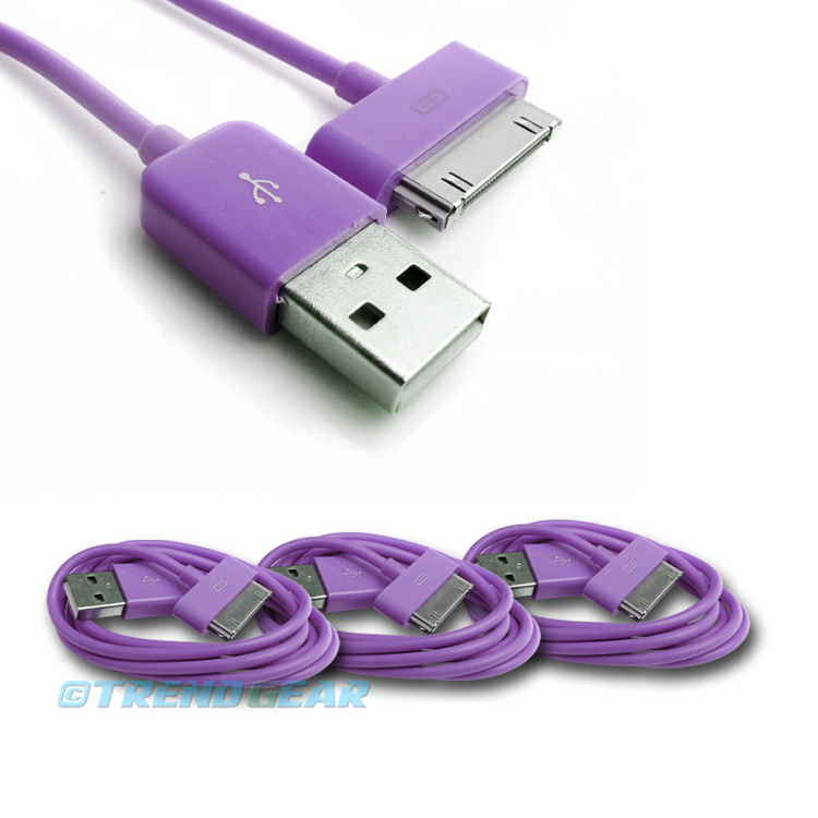 3X 6FT 30-PIN USB SYNC DATA POWER CHARGER AQUA BLUE CABLE IPHONE IPOD TOUCH IPAD