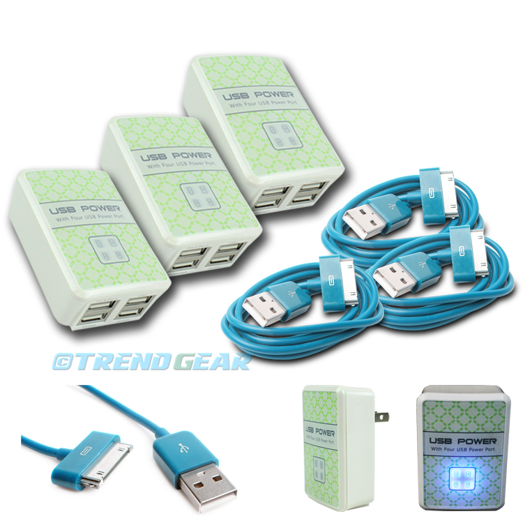 """5X 6FT USB 30PIN AQUA BLUE CABLE DATA CHARGER FOR GALAXY TAB 7/"""" 8.9/"""" 10.1/"""""""