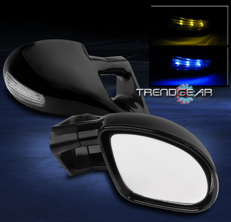 00 01 02 03 04 FORD FOCUS M3 POWERED SIDE MIRRORS BLUE//AMBER LED CLEAR LENS