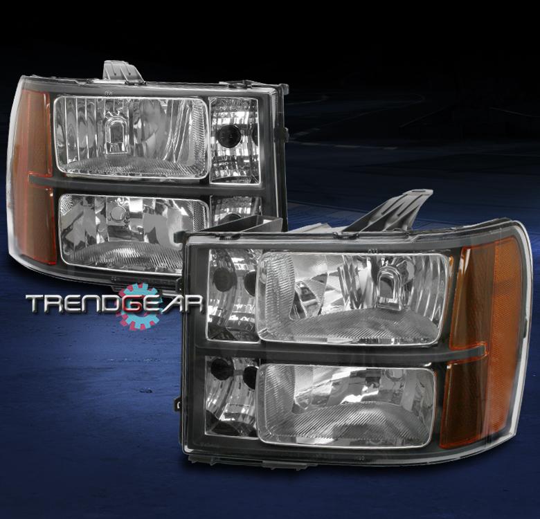 2007 2013 gmc sierra 1500 2500 3500 hd denali crystal headlight amber black mew. Black Bedroom Furniture Sets. Home Design Ideas