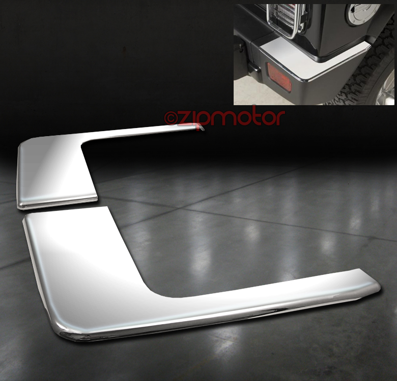 06-10 HUMMER H3 REAR BUMPER CORNER COVERS TRIMS GUARD ABS CHROME LEFT+RIGHT 2PCS