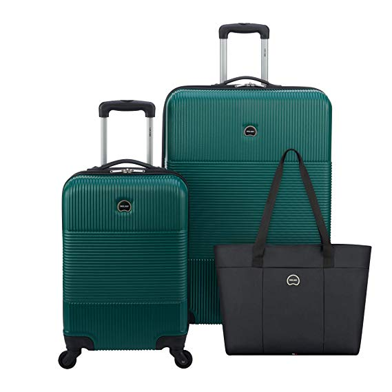 Delsey Paris 3 Piece Hardside Set Carry On Checked Suitcase
