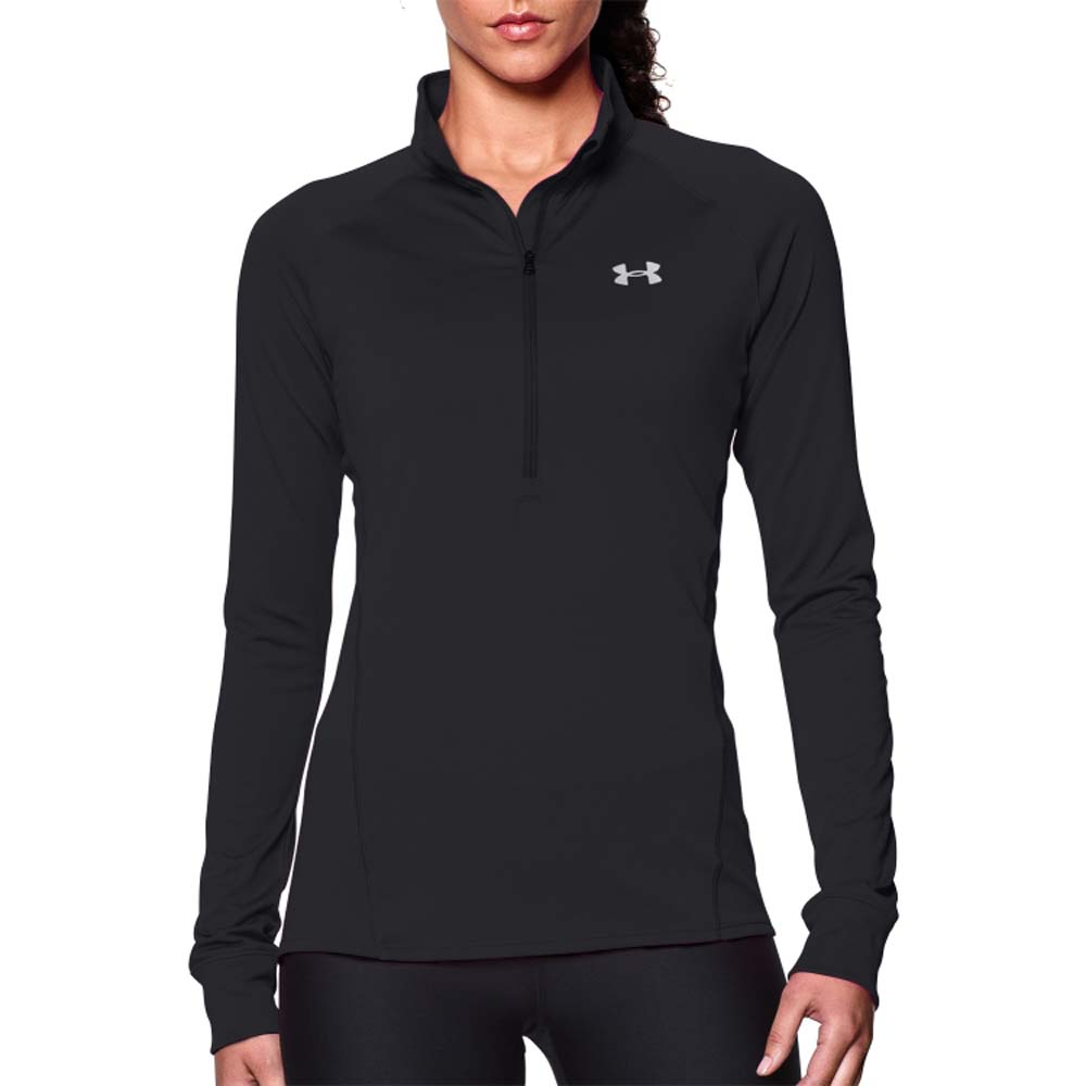 Under armour womens cold gear small black half zip long for Under armour half sleeve shirt