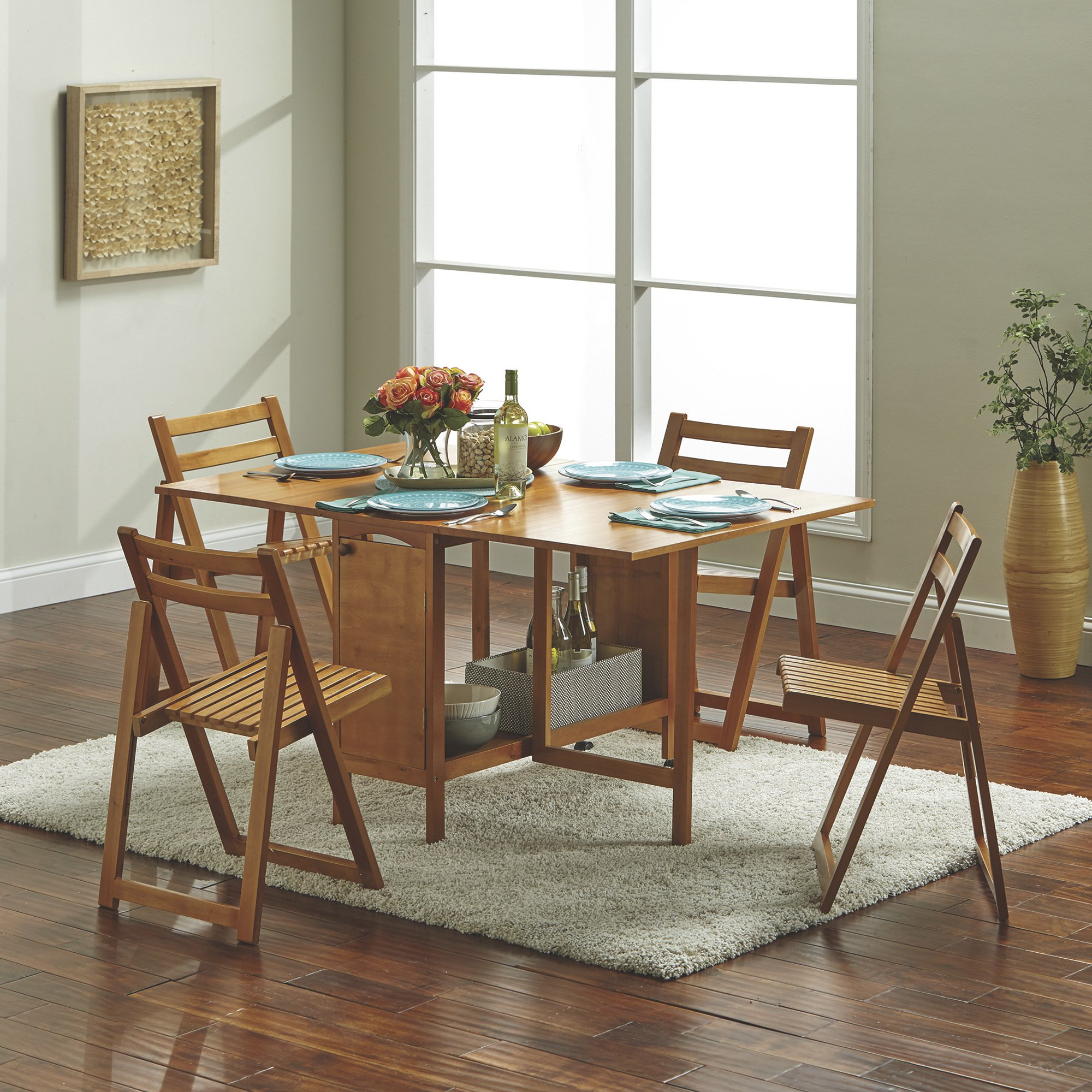 5 Pc Space Saving Foldable Portable Dining Set 1 Table 4 Chairs