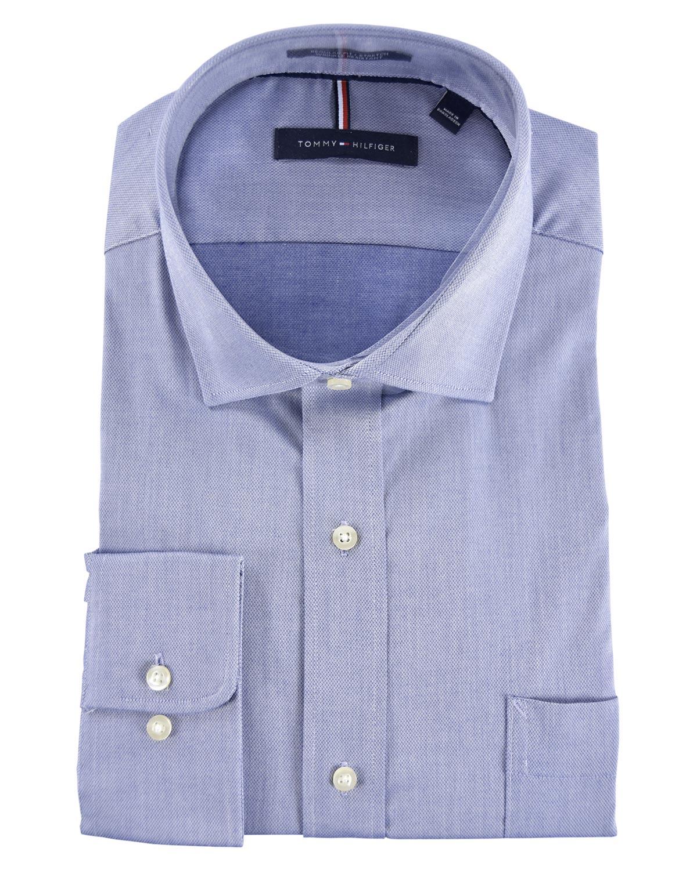 03912423a53fd Details about Tommy Hilfiger Mens Regular Fit Stretch Dress Shirt 16-16.5  34 35 Blue Wrinkle R