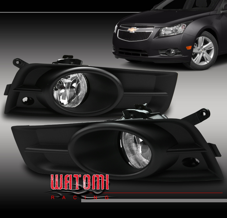09-14 CHEVY CRUZE BUMPER DRIVING CLEAR FOG LIGHTS+CHROME//BLACK COVER+HARNESS KIT