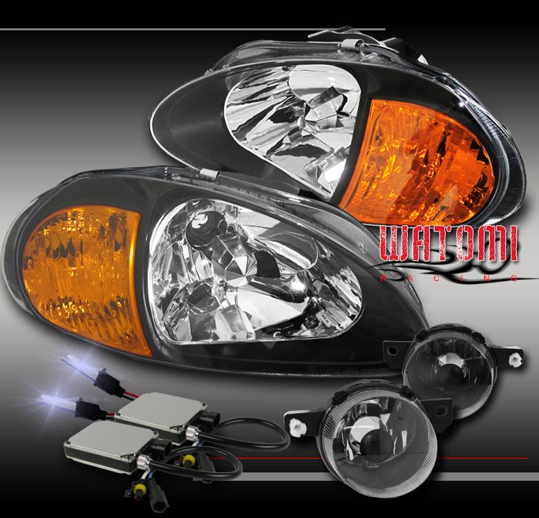 10000K HID CONVERSION KIT BLACK HOUSING AMBER CORNER HEADLIGHT HEAD LIGHT LAMP