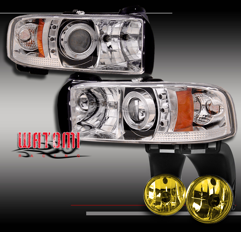 1994-2001 DODGE RAM TRUCK CHROME LED HALO PROJECTOR HEADLIGHTS W//BUMPER FOG LAMP