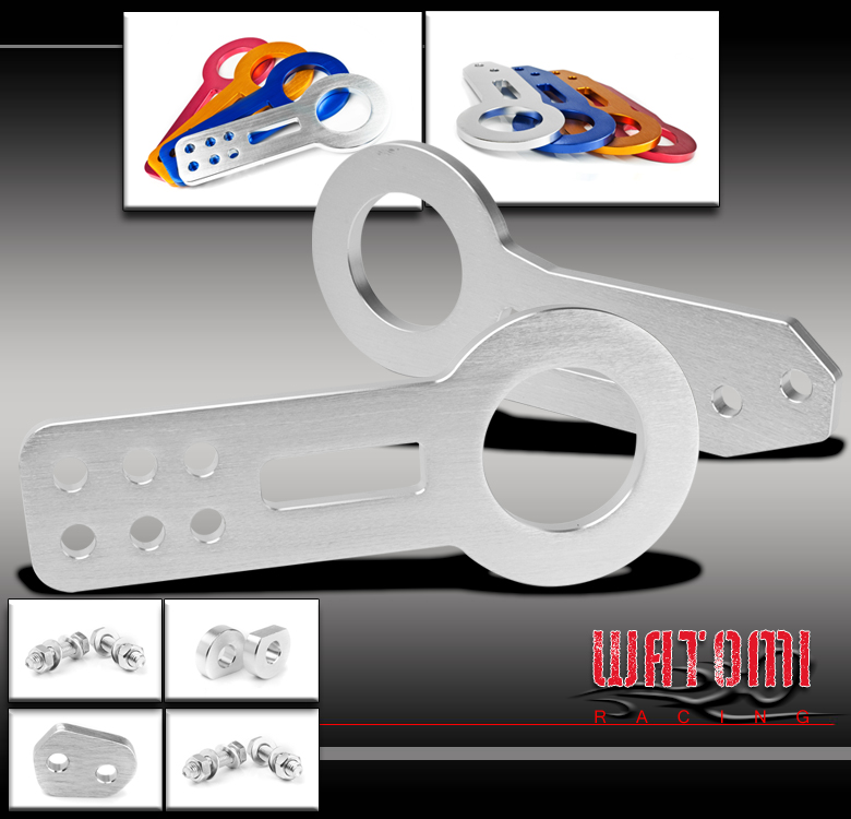 FRONT+REAR TOW HOOK KIT SILVER INTEGRA RSX ACCORD CRX