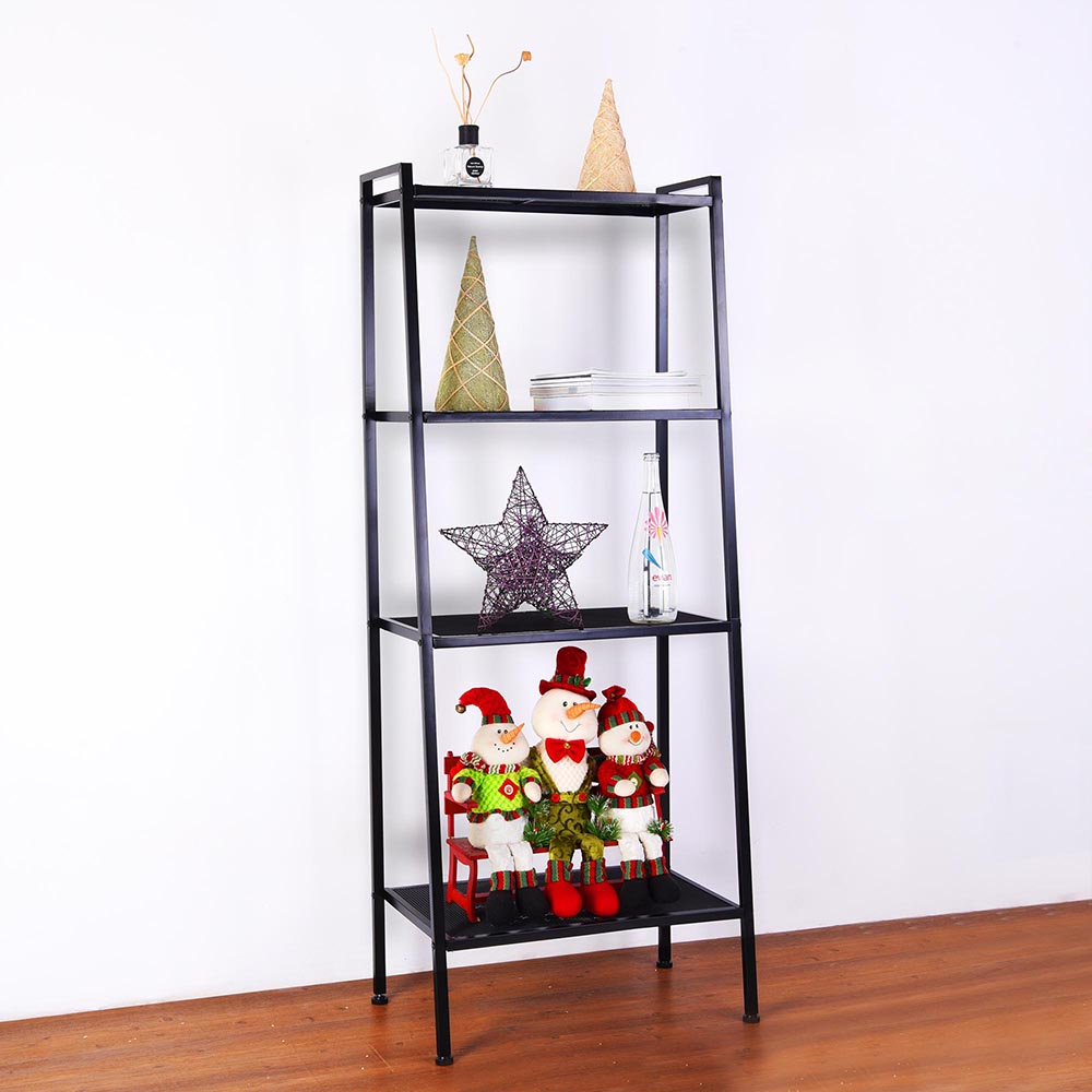 4-Shelf-Metal-Bookcase-Storage-Shelving-Bookshelf-Wall-