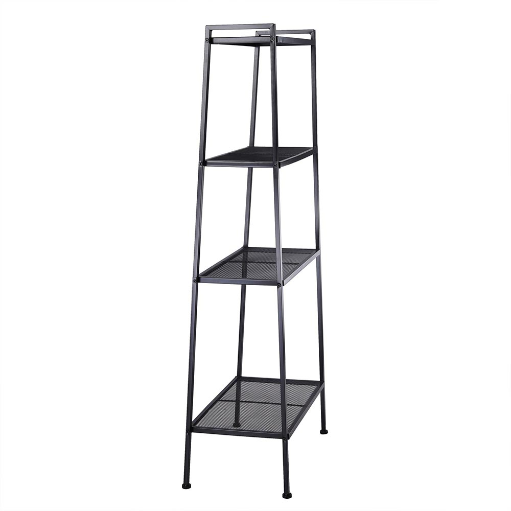 4 Tier Storage Ladder Bookcase Metal Display Leaning Shelf Bookshelf Home Office