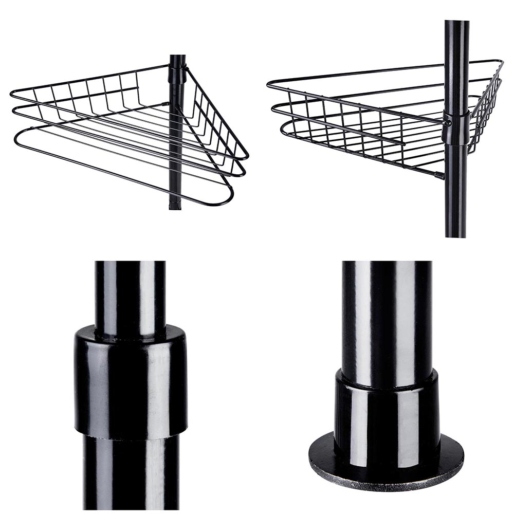 4 Layer Metal Shower Corner Pole Caddy Shelf Bathroom Bath