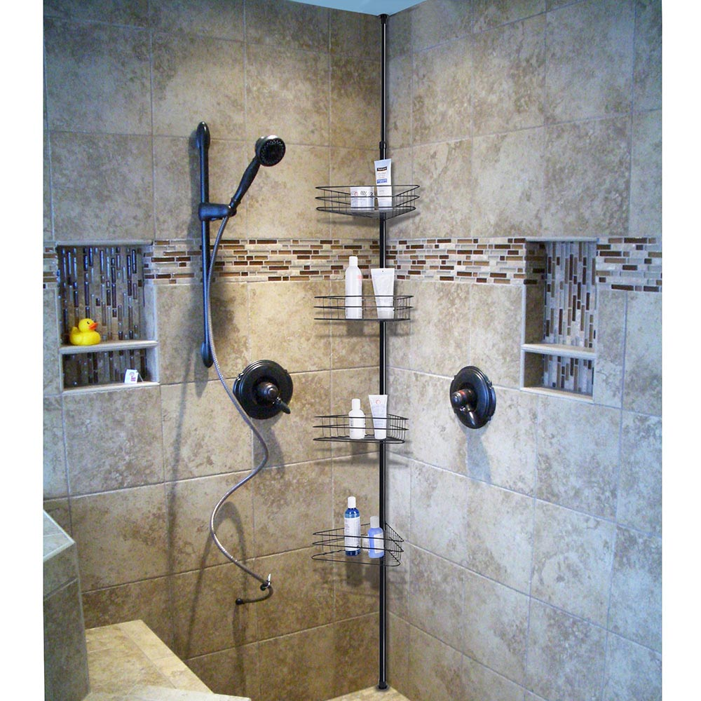 4 Shelf Metal Shower Corner Tension Pole Caddy Organizer Bathroom ...