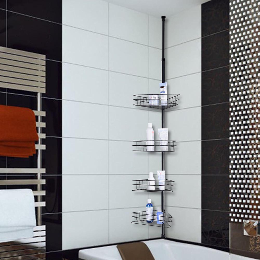 Bathroom Shower Corner Shelves: 4 Layer Metal Shower Corner Pole Caddy Shelf Bathroom Bath
