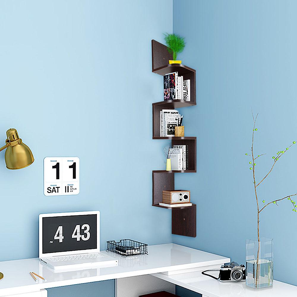 2-3-5-Tiers-Wall-Corner-Wood-Shelf-Zig-Zag-Floating-Display-Rack-Home-Furniture thumbnail 43