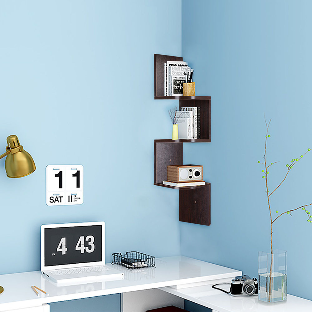 2-3-5-Tiers-Wall-Corner-Wood-Shelf-Zig-Zag-Floating-Display-Rack-Home-Furniture thumbnail 28