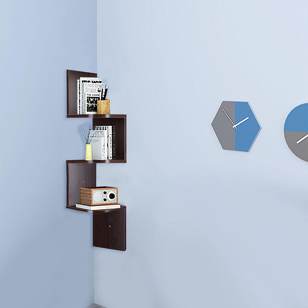 2-3-5-Tiers-Wall-Corner-Wood-Shelf-Zig-Zag-Floating-Display-Rack-Home-Furniture thumbnail 29
