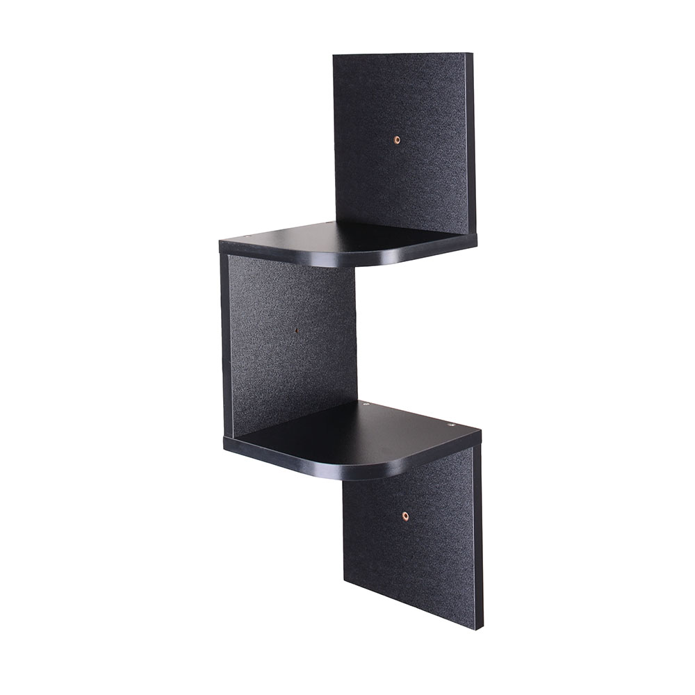 2-3-5-Tiers-Wall-Corner-Wood-Shelf-Zig-Zag-Floating-Display-Rack-Home-Furniture thumbnail 3