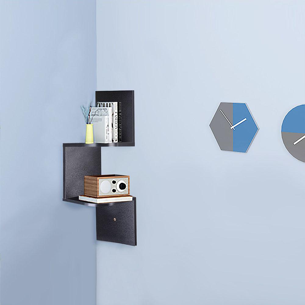 2-3-5-Tiers-Wall-Corner-Wood-Shelf-Zig-Zag-Floating-Display-Rack-Home-Furniture thumbnail 6