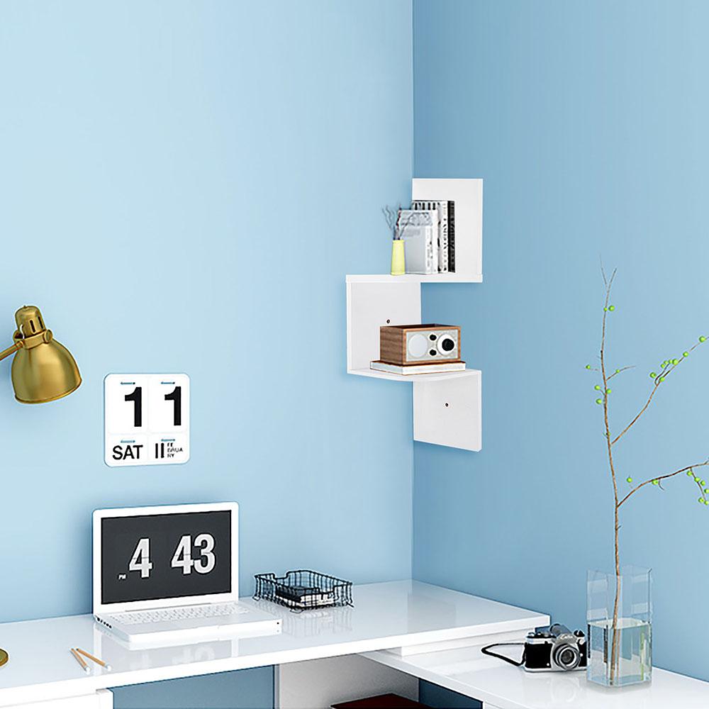 2 3 5 Tiers Wall Corner Wood Shelf Zig Zag Floating Display Rack ...