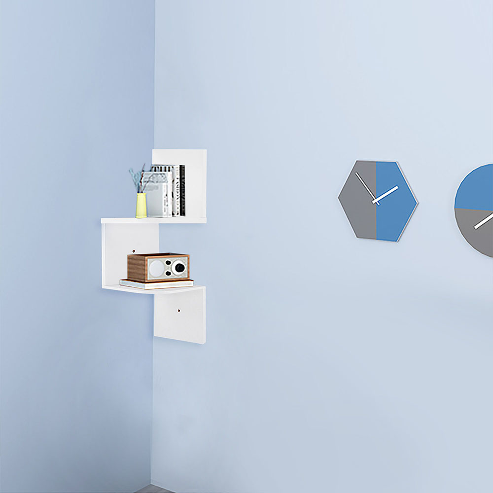 2-3-5-Tiers-Wall-Corner-Wood-Shelf-Zig-Zag-Floating-Display-Rack-Home-Furniture thumbnail 18