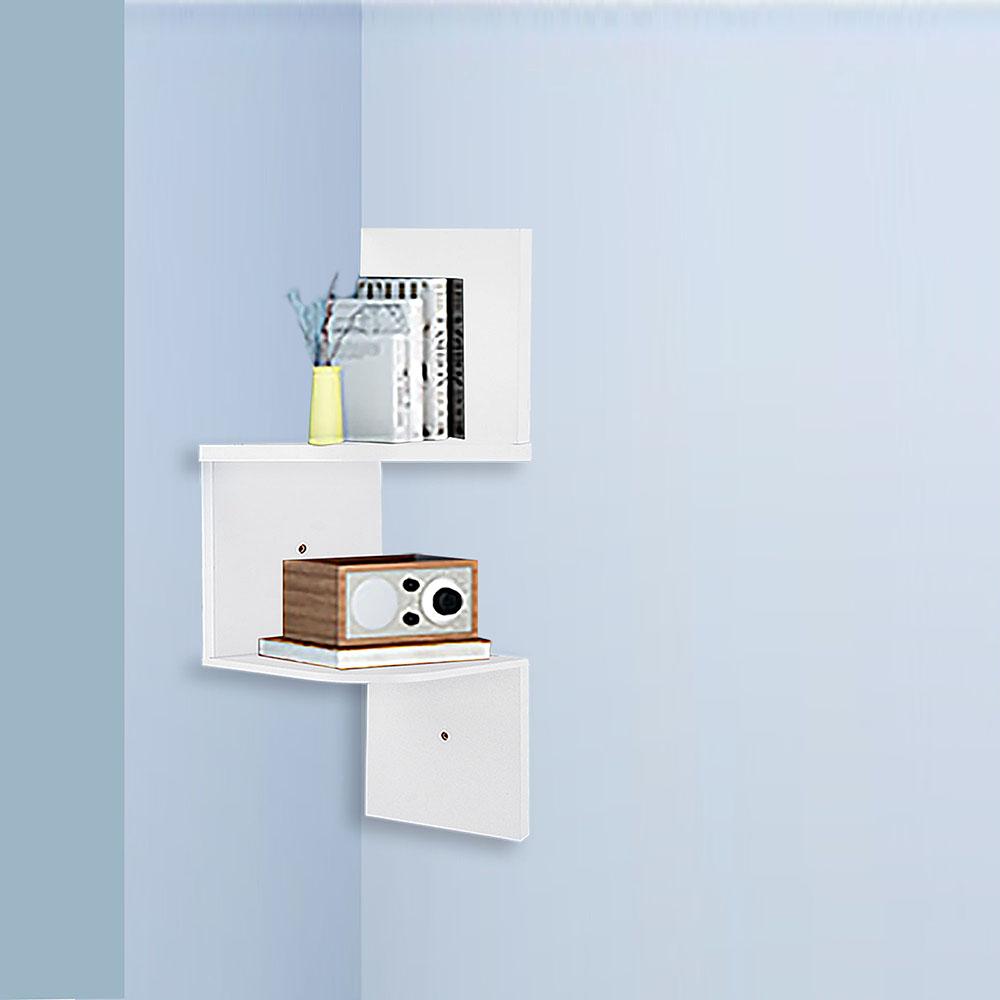 new  tiers wall corner wood shelf zig zag floating display rack  - newtierswallcornerwoodshelfzig