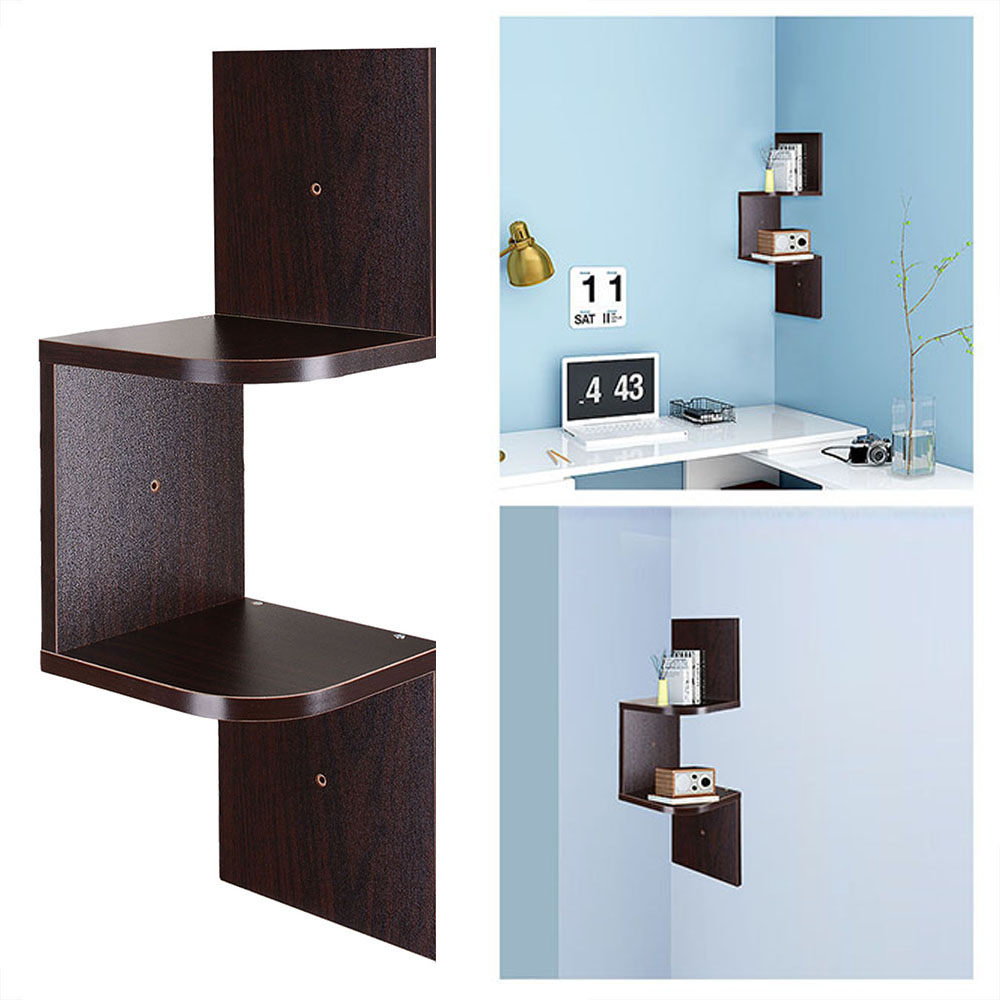New 2 tiers wall corner wood shelf zig zag floating display rack home furniture ebay New home furniture bekasi