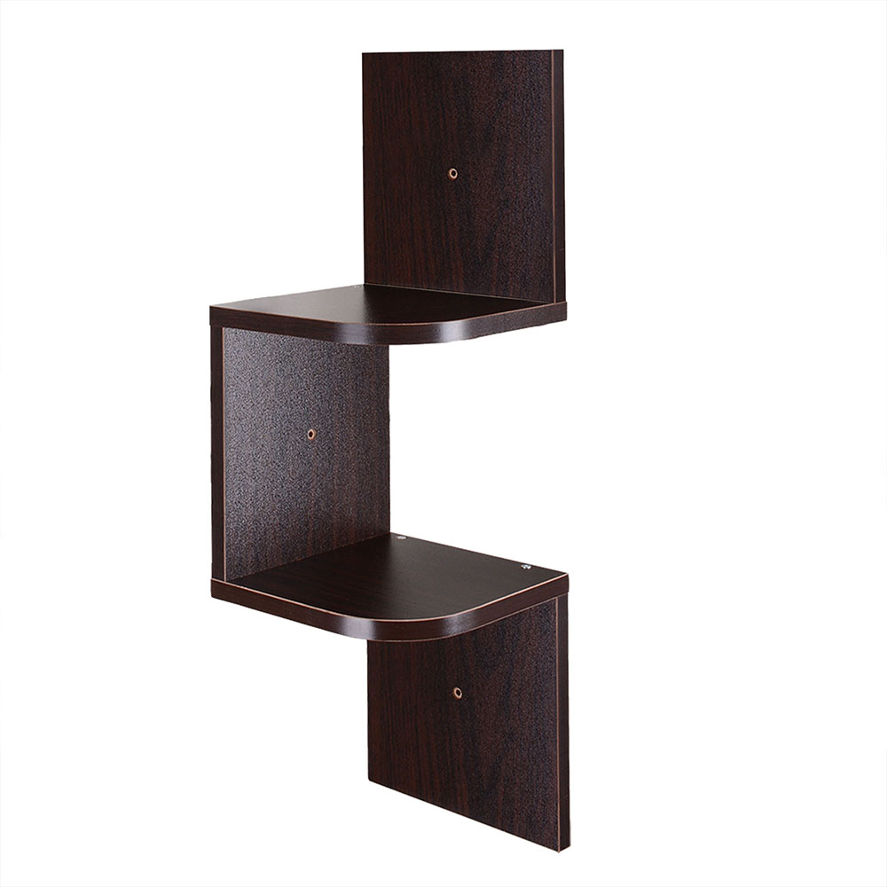 Corner Exhibition Stands Day : New tiers wall corner wood shelf zig zag floating