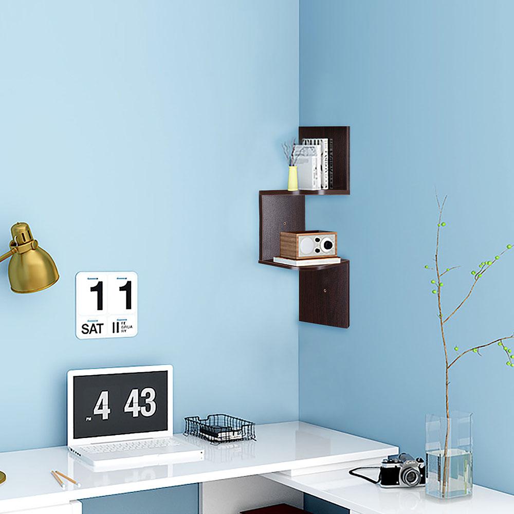 2-3-5-Tiers-Wall-Corner-Wood-Shelf-Zig-Zag-Floating-Display-Rack-Home-Furniture thumbnail 11