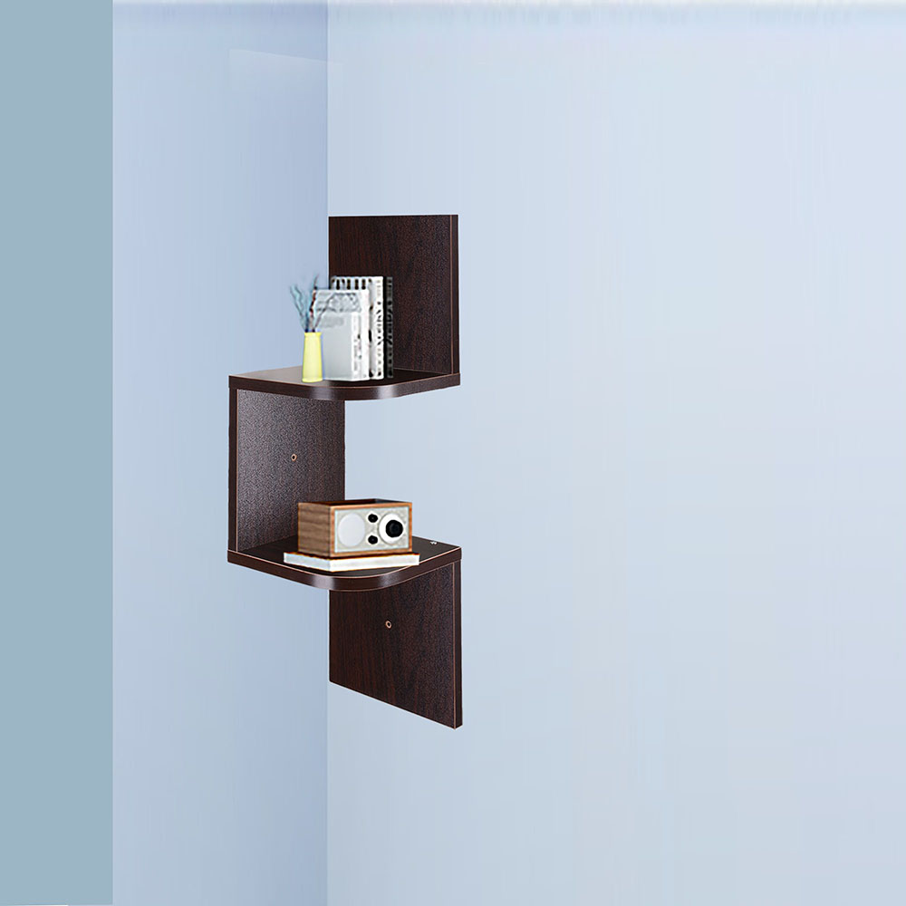 2-3-5-Tiers-Wall-Corner-Wood-Shelf-Zig-Zag-Floating-Display-Rack-Home-Furniture thumbnail 13