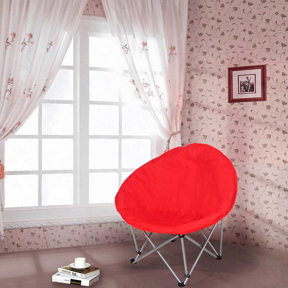 Microsuede-Folding-Padded-Saucer-Moon-Chair-Large-Oversized-Living-Room-Seating thumbnail 12