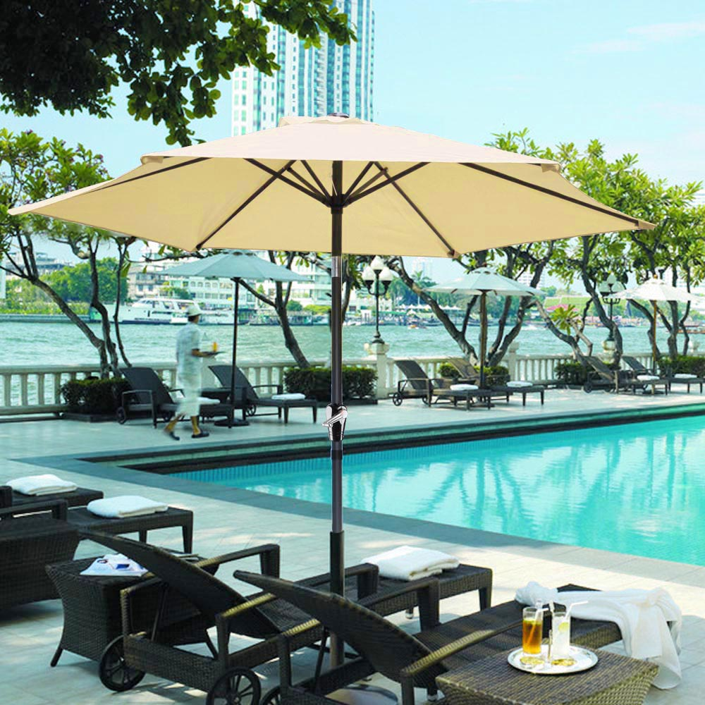 8u0027 FT Patio Umbrella Aluminum Crank Tilt Deck Sunshade Cover Outdoor Yard  Beach Red