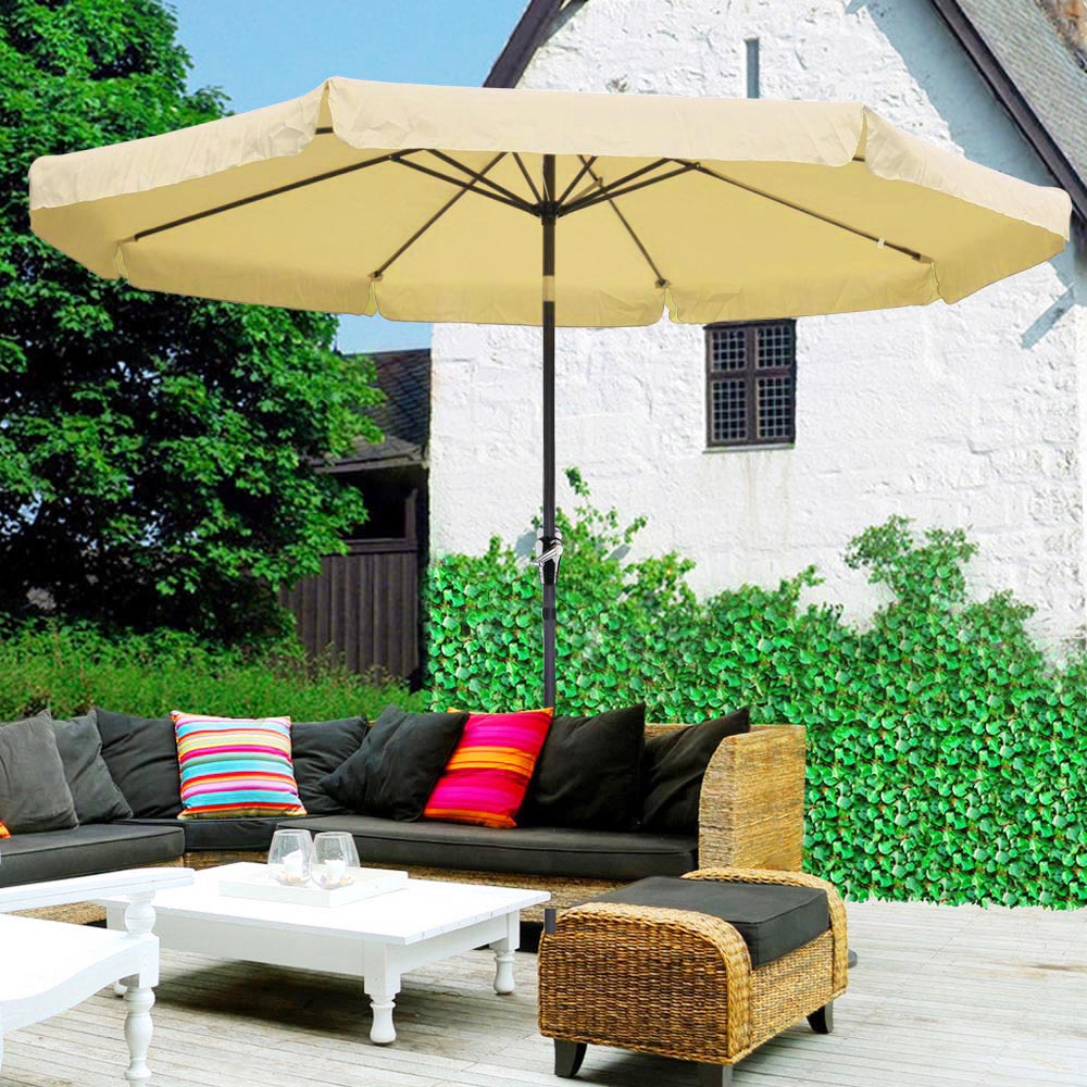 Superb 10ft Aluminum Outdoor Patio Umbrella W Valance Crank