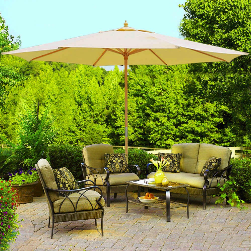 8-039-9-039-13-039-Outdoor-Patio- & 8u0027 9u0027 13u0027 Outdoor Patio Wood Umbrella Wooden Pole Market Beach ...