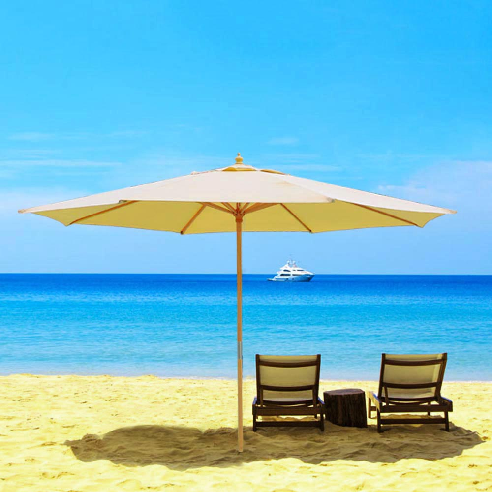 8-039-9-039-13-039-Outdoor-Patio-Wood-Umbrella-Wooden-Pole-Market-Beach-Garden-Sun-Shade thumbnail 5