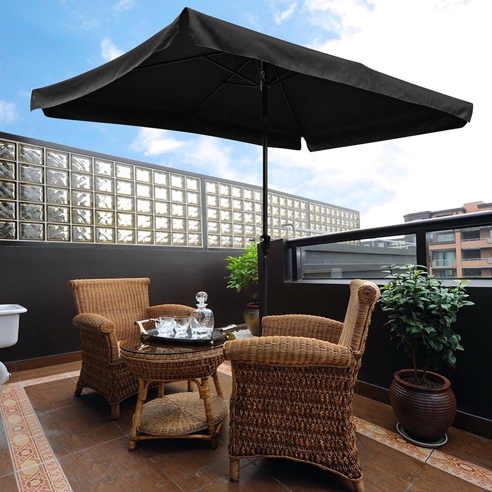 10x6 5ft Rectangle Aluminum Outdoor Patio Umbrella Sunshade Crank
