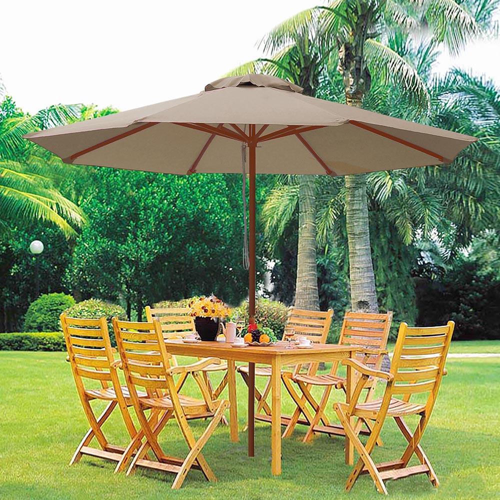 8-039-9-039-13-039-Outdoor-Patio-Wood-Umbrella-Wooden-Pole-Market-Beach-Garden-Sun-Shade thumbnail 110