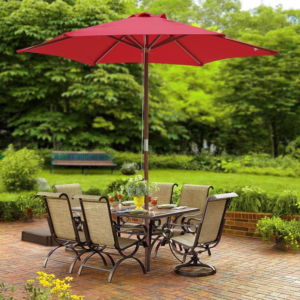 166 Best Outdoor Patio Pool Images On Pinterest: 8FT 6 Ribs Patio Wood Umbrella Wooden Pole Outdoor Garden