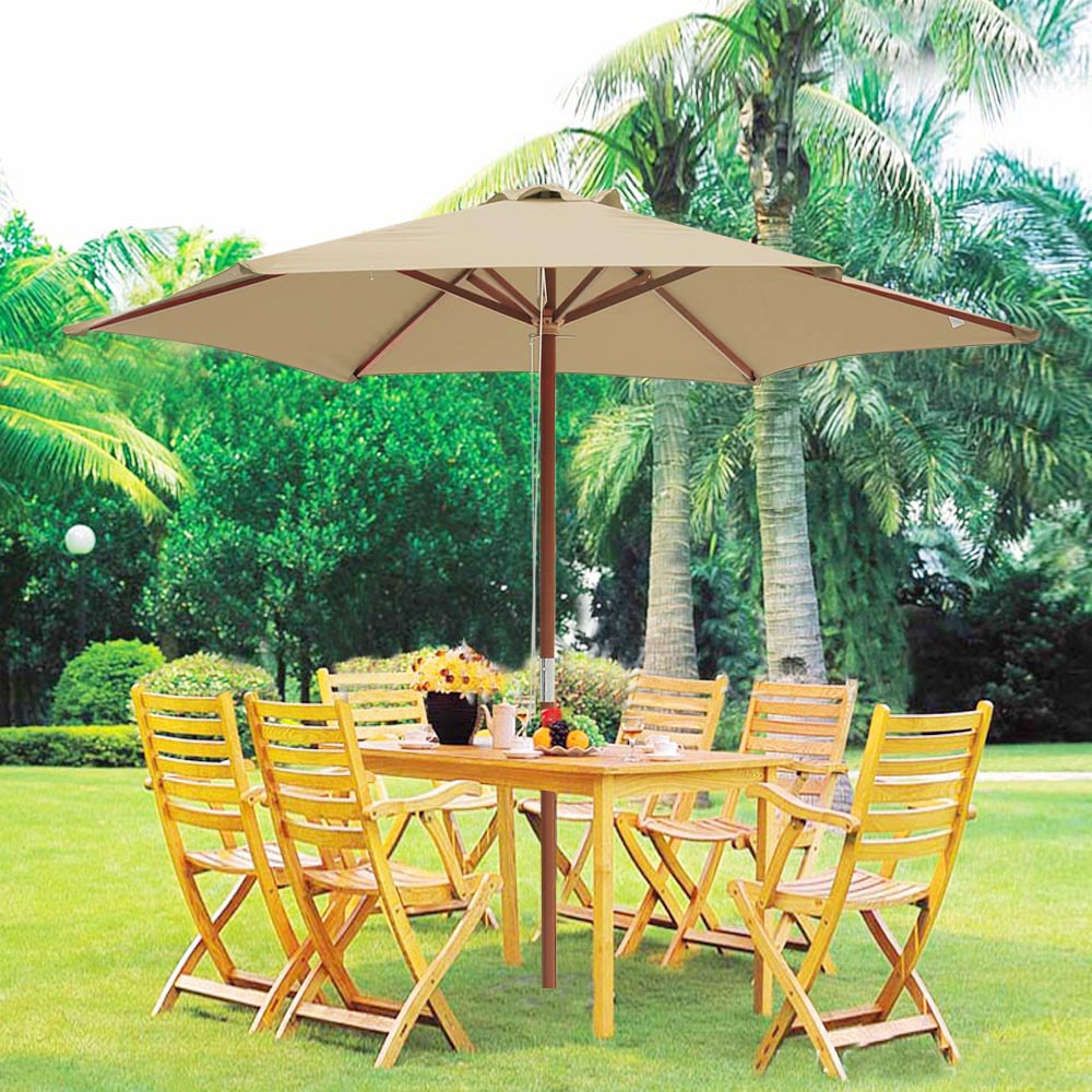 8ft 6 ribs patio wood umbrella wooden pole outdoor garden pool