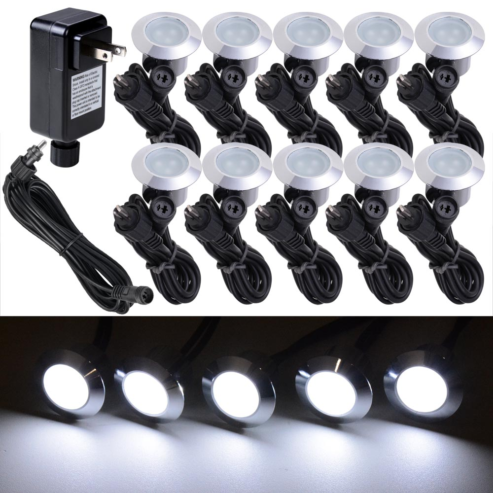 10pc cool white led deck lights kit outdoor garden patio stair 10pc cool white led deck lights kit outdoor garden patio stair landscape pathway mozeypictures Image collections