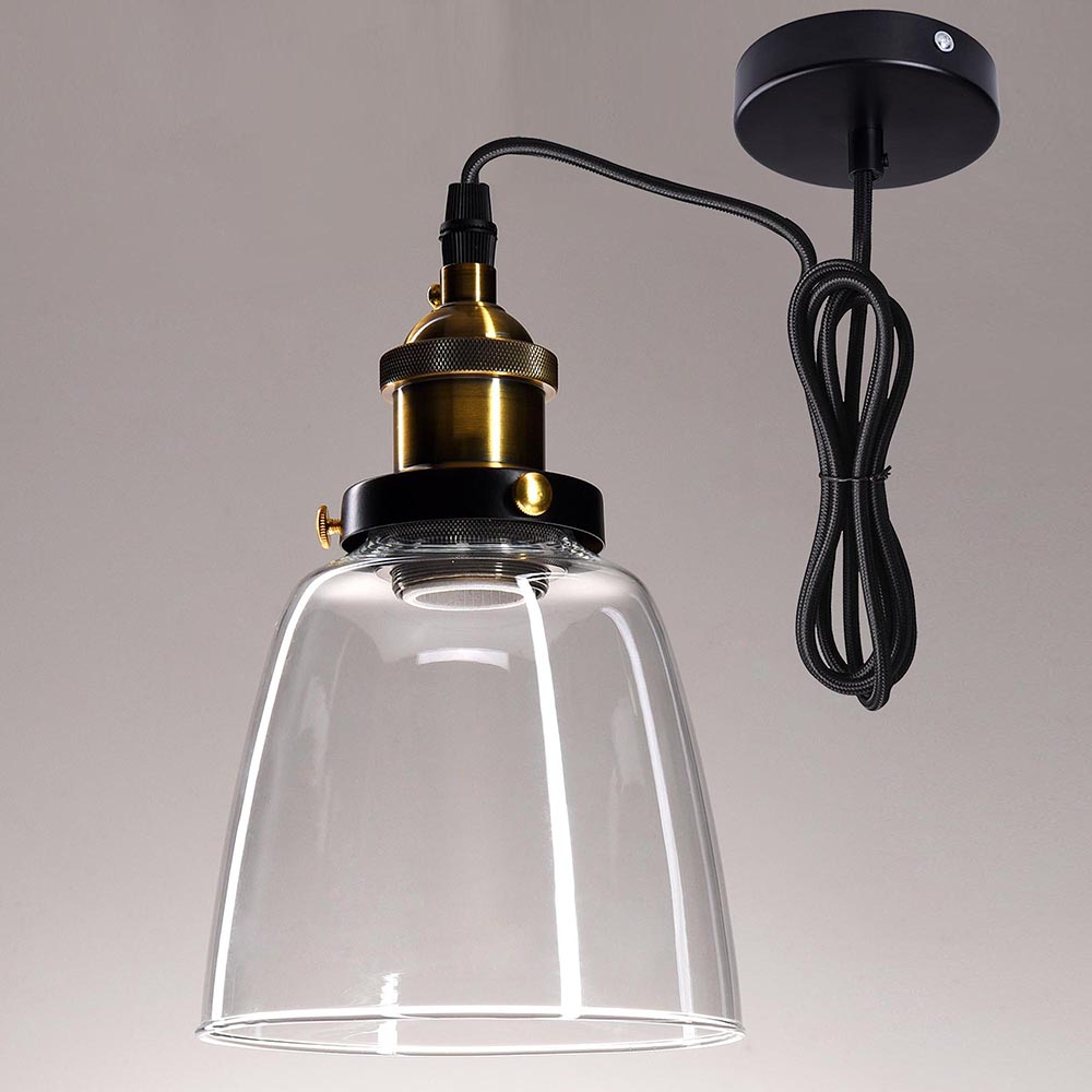 Vintage Industrial Glass Pendant Light: Vintage Industrial Primitive Glass Hanging Ceiling Lamp