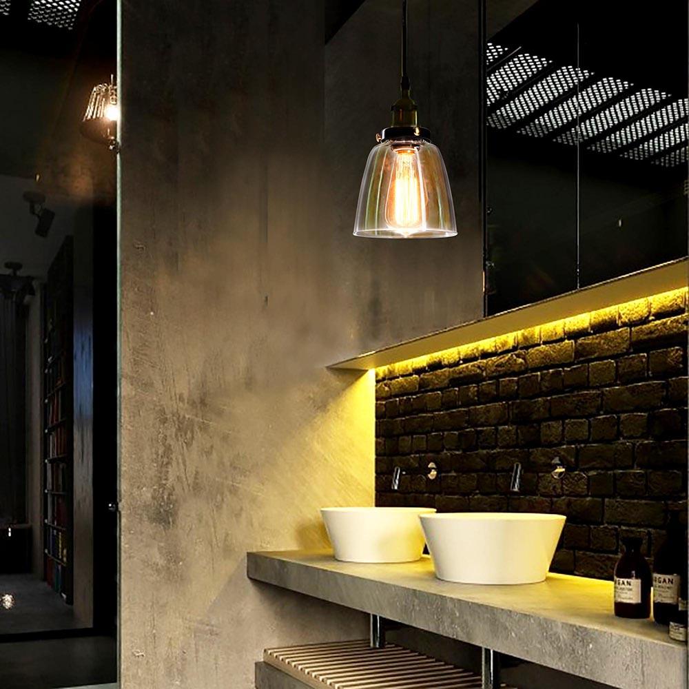 Industrial Light Hangers: Vintage Industrial Primitive Glass Hanging Ceiling Lamp
