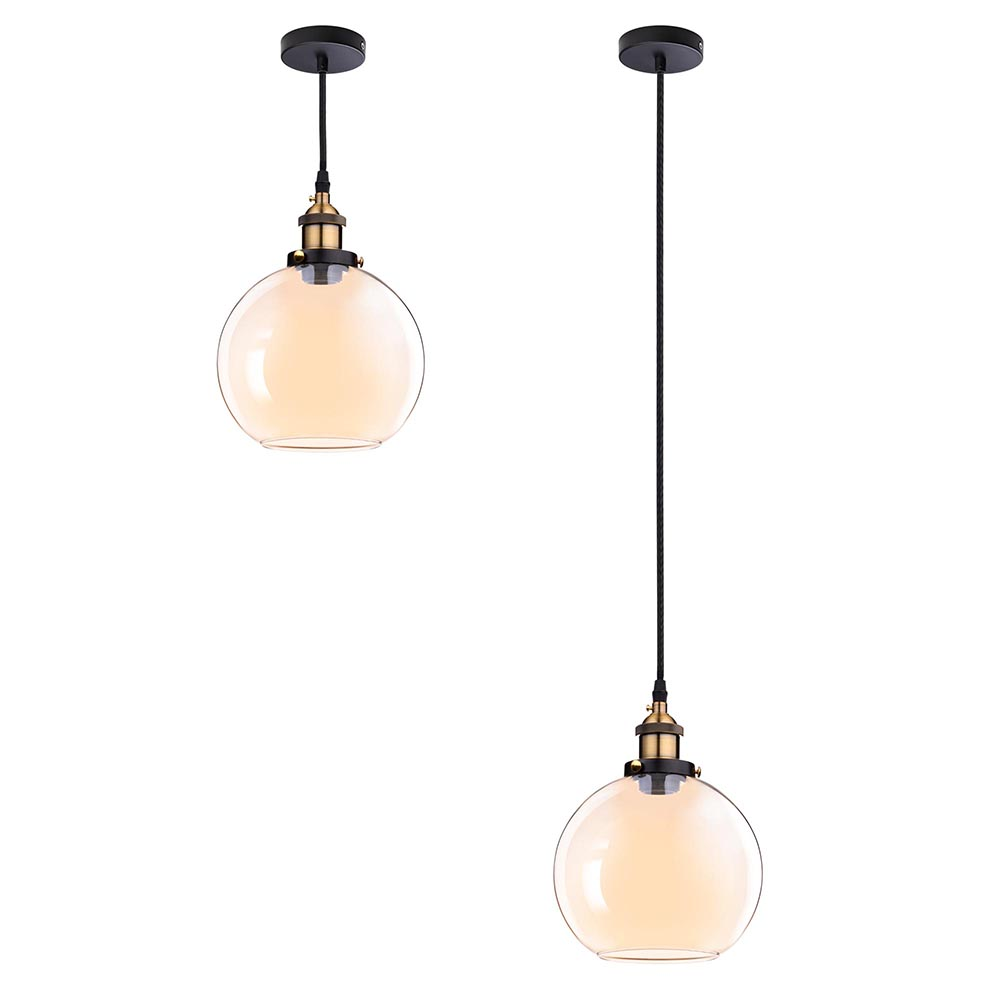 Vintage Industrial Glass Pendant Light