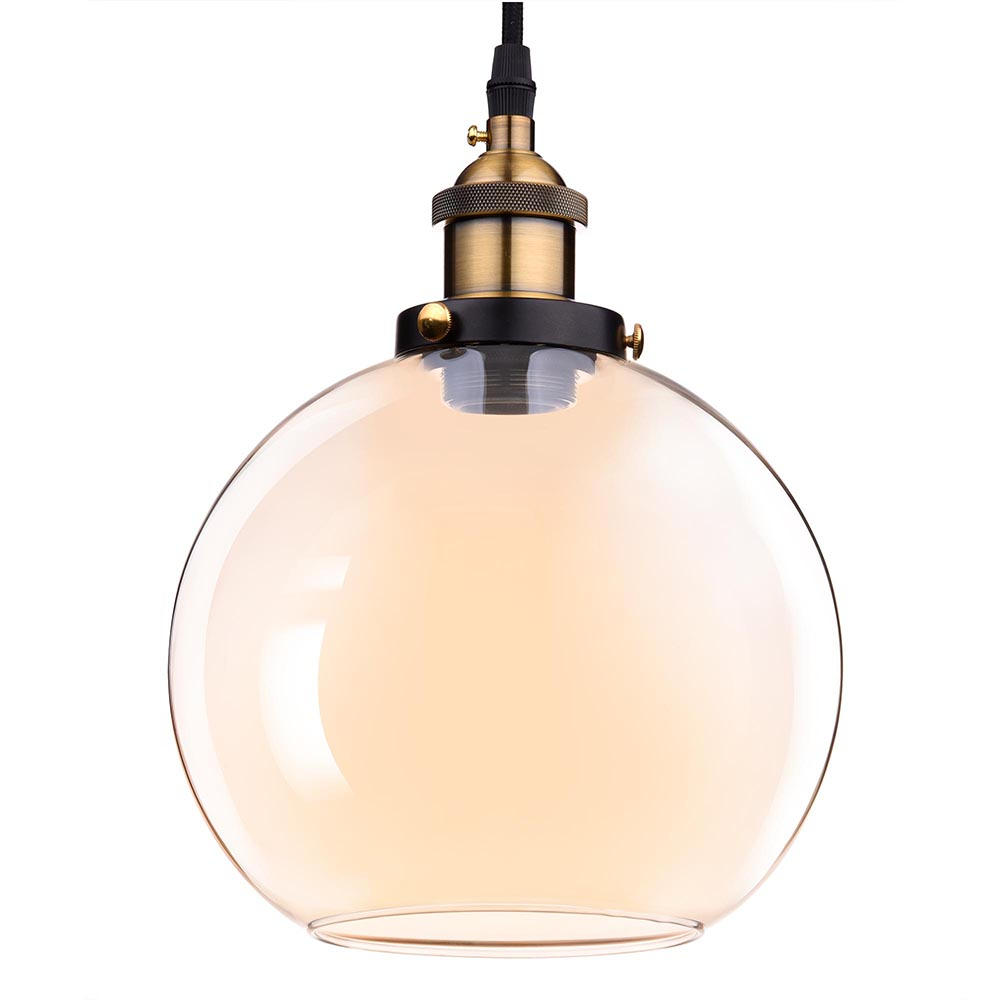 Hanging Light Round: Vintage Industrial Glass Ceiling Pendant Chandelier Light