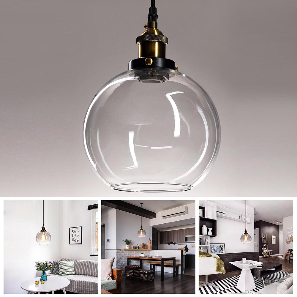 Vintage Industrial Glass Ceiling Pendant Chandelier Light Round Ball ...