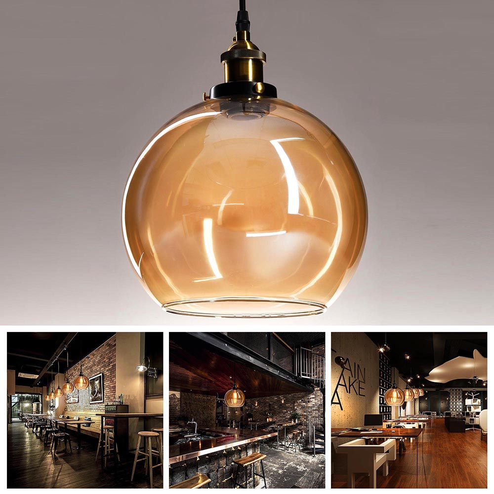 Vintage Glass Lamp Chandelier Antique Ceiling Pendant: Vintage Glass Ceiling Pendant Chandelier Industrial Light