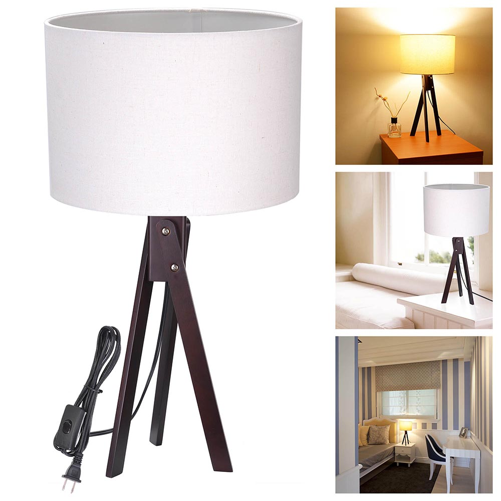 Modern Tripod Table Desk Floor Lamp Wood Wooden Stand Home Office ...