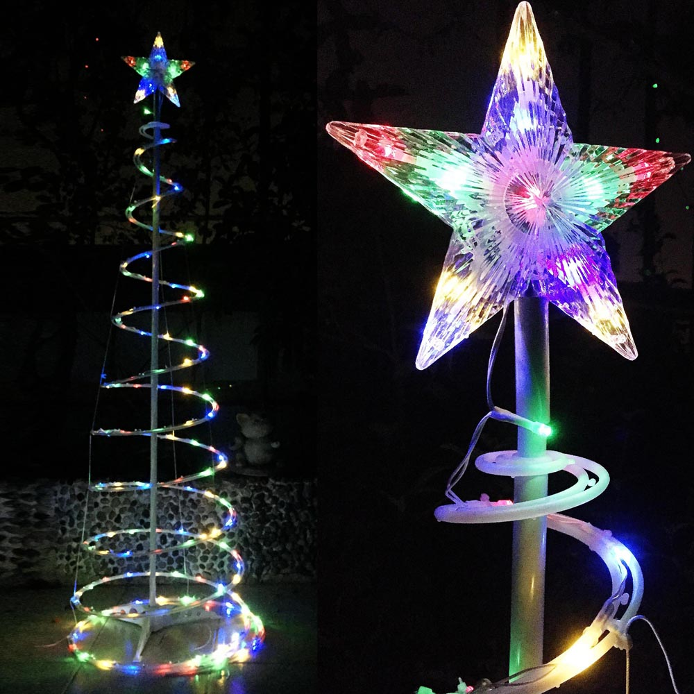 6 ft color changing christmas led spiral tree light xmas new year lamp battery 640671026963 ebay - Led Christmas Tree Lights That Change Colors